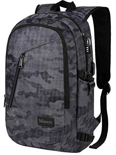 Camo Backpack, Camouflage Travel Laptop Backpack for Travel Accessories, Lightweight Anti-Theft Durable School Bag w/Charging Port, Outdoor Daypack for Men Women Boys Girls, Fits 15.6 Inch Notebook - Zippered Camouflage Travel Bag
