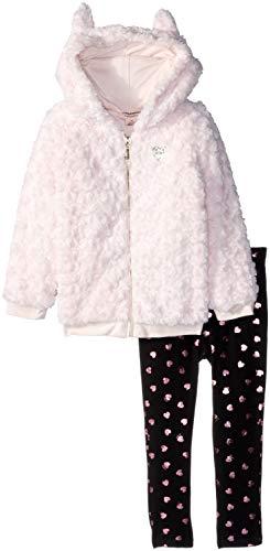 Juicy Couture Girls' Big 2 Pieces Jacket Set-Faux Fur, Peach/Brown Print ()