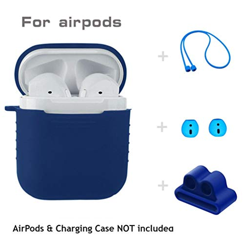 Price comparison product image for Apple AirPods,  Owill 5 in 1 Silicone Cover Case Earphone Set for Airpods Headset Earhook Accessories (Blue)
