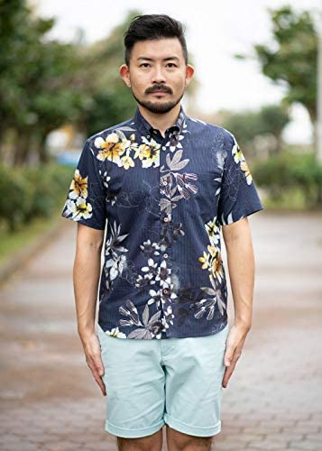 [MAJUN (マジュン)] 国産シャツ かりゆしウェア アロハシャツ 結婚式 メンズ 半袖シャツ ボタンダウン レインライン