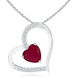 July Birthstone - Solitaire Ruby Tilted Heart Pendant Necklace for Women with Pave Diamonds (6mm Ruby)