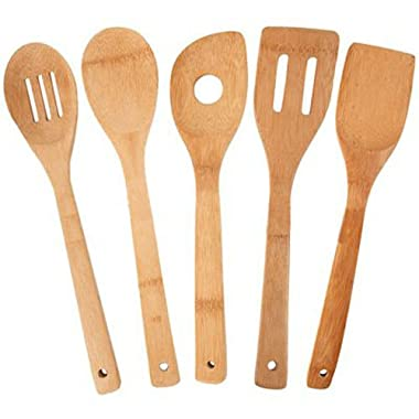 Totally Bamboo 5-Piece Utensil Set, Includes 100% Bamboo Turner, Slotted Spatula, Spoon, Single Hole Mixing Spoon