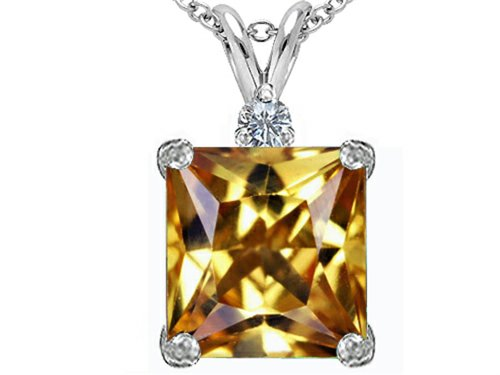 Star K Large 12mm Square Cut Simulated Imperial Yellow Topaz Pendant Necklace Sterling Silver