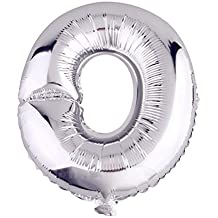 Glanzzeit 16 Inch Silver Foil Balloons Letters A to Z Numbers 0 to 9 for Prom Wedding Birthday Party Decor (Letter O)
