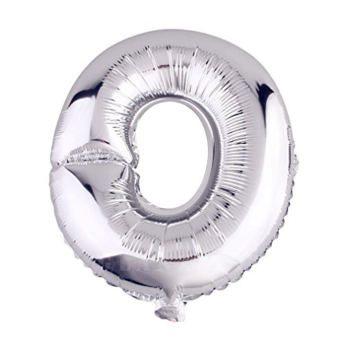Glanzzeit 32 Inch Silver Foil Balloons Letters A to Z Numbers 0 to 9 Wedding Holiday Birthday Party Decoration (Letter O)]()