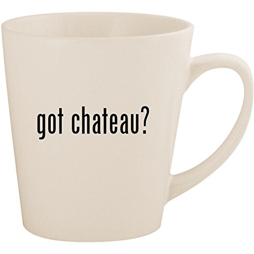 got chateau? - White 12oz Ceramic Latte Mug Cup - Wine Chardonnay Latour