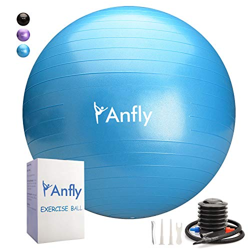 Anfly Exercise Ball for Workout, Stability, Yoga, Balance, Fitness, Anti-Burst Pregnancy Ball with Quick Pump, Extra Thick Pilates Ball with Physical Therapy, Strengh Training