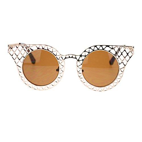 Womens Wire Mesh Cat Eye Horn Rim Runway Fashion Sunglasses - Glasses Rim Trend Wire
