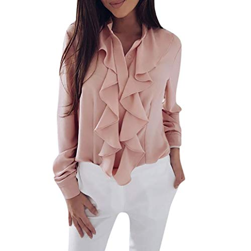 Misaky Women's 2018 Autumn Fashion Casual Long Sleeve Blouse Ruffle Front Shirt Office Tops(Pink, XX-Large) ()