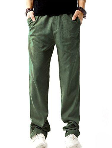 SIR7 Men's Linen Casual Lightweight Drawstrintg Elastic Waist Summer Beach Pants