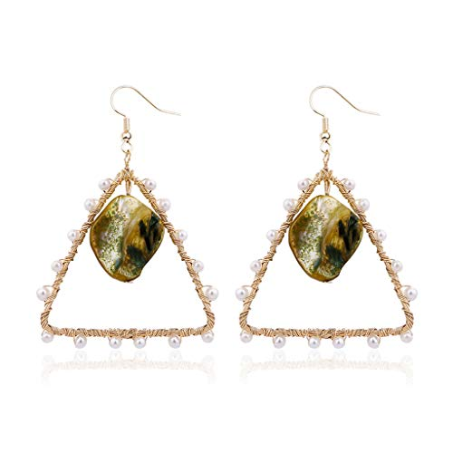 Creative Earrings Bohemian Style Geometric Triangle Dangle Pearl Wire Wrapped Woven Earrings (Green)
