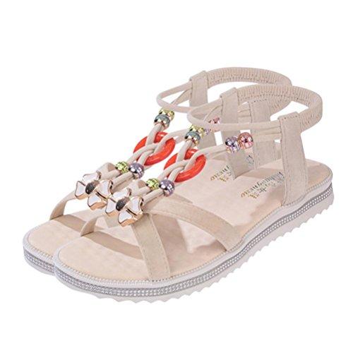 Saingace Damen Sommer Sandalen Schuhe Peep-Toe Low Schuhe Römische Sandalen Damen Flip Flops Beige