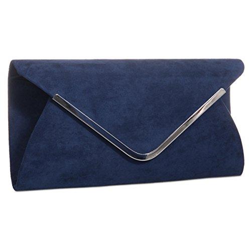Xardi London nuevo sobre con ante sintético de piel bolsas de las mujeres Baguette del embrague señoras noche Prom azul marino