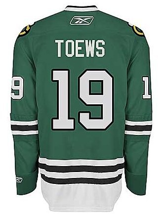 Chicago Blackhawks Mens Jonathan Toews St. Patrick's Day (Green) Jersey by Reebok