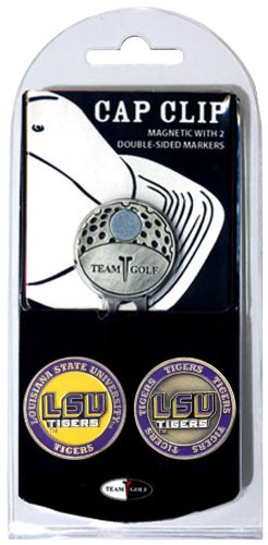 Team Golf NCAA LSU Tigers Golf Cap Clip with 2 Removable Double-Sided Enamel Magnetic Ball Markers, Attaches Easily to ()
