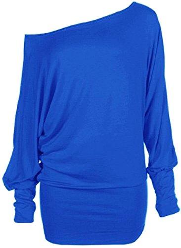 nouvelles dames plus la taille de l'épaule ample chauve-souris à manches longues en reste robe top (36/38, Royal Blue)