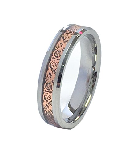18K Rose Gold Plated Celtic Dragon 6mm Wide Original Stamped Tungsten Carbide Wedding Band Ring By Cohro  CJTU534H-7