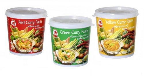 Cock Brand - Probierset Currypasten - 3er Pack (3 x 400g) - 3 Sorten, je 1 Dose Rote, Grüne, Gelbe Currypaste