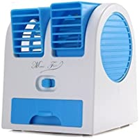 FASHIONS STORE Mini Fan and Portable Dual Bladeless Small Air Conditioner Cooler USB Powered and Battery Use of Car, Home, Offices (Colour May Vary)