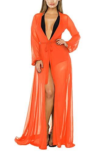 Sovoyontee Women's Neon Orange Mesh Kimono Long Sleeve Swimsuit Swim Bathing Beach Cover Up Dress 2XL