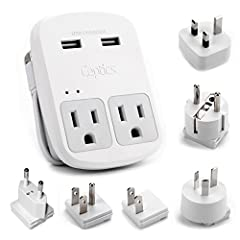 This is a perfect travel adapter comes with a pouch. It Works almost anywhere in the world with a safe grounded connection. Works for your Laptops, iWatch, Macbook Pro, Google, ChromeBook, iPhone, Galaxy S8, Flashlight, Toothbrush (Worldwide ...