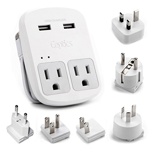 Ceptics World Travel Adapter Kit - 2 USB + 2 US Outlets, Inc