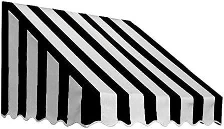 Awntech 6-Feet San Francisco Window Entry Awning, 31-Inch Height by 24-Inch Diameter, Black White