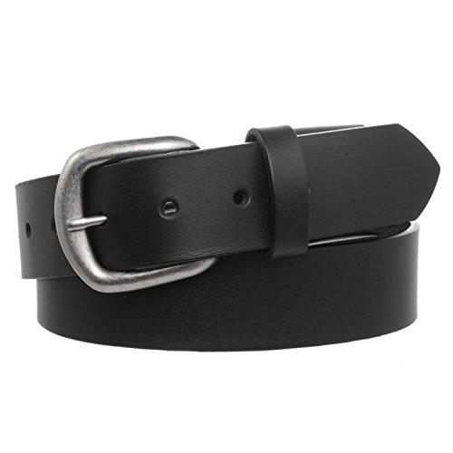 Boston Genuine Belt (Men's Full Grain Leather Stretch Belt with Nickel Buckle - Black)