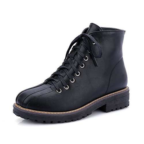 Up Black Heels PU Low Lace Women's Low Top WeenFashion Boots Solid nTwCOqxY