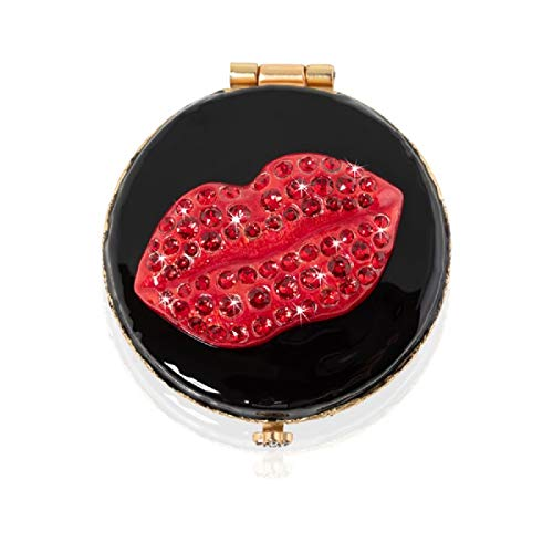 (Jay Strongwater Pop Life Monroe Lip Kiss Compact Make up Mirror with Swarovski Crystals )