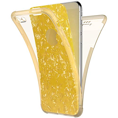 Compatible with iPhone 6S Plus/ 6 Plus Case,PHEZEN Sparkle Bling Crystal Clear Bumper TPU Silicone Rubber Back Cover Slim Fit Shockproof 360 Full Body Protection Case Cover for iPhone 6S Plus,Yellow