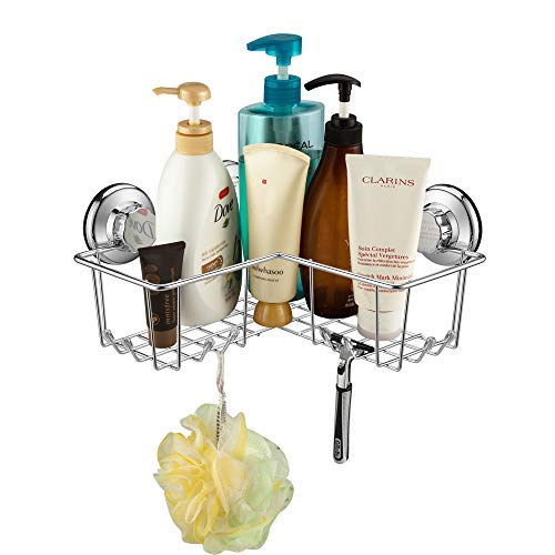 SANNO Suction Shower Caddy, Corner Bath Shelf Storage Combo Organizer 8 Hooks, No Damage Suction Cup,Rustproof Wire Basket Kitchen & Bathroom Accessories - Rustproof Stainless ()