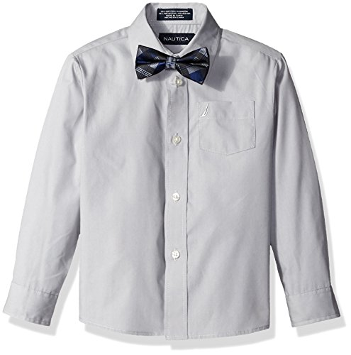 - Nautica Little Boys Long Sleeve Solid Shirt with Bow Tie, Silver Met, 7
