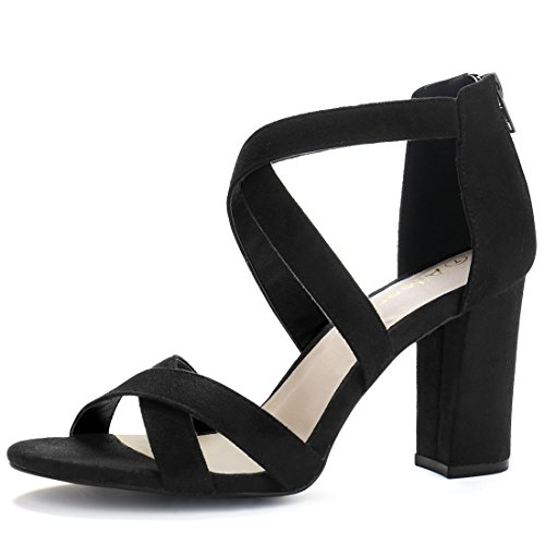 Allegra K Women Crisscross Strappy Open Toe Heeled Sandals (Size US 5)