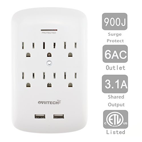 Multi Outlets,6 Wall Mount Surge Protector Adapter with Dual 3.1A USB Charging Ports,Oviitech Multi Plug Outlets,6 AC Socket Outlet Plugs,900 Joules Surge by OviiTech