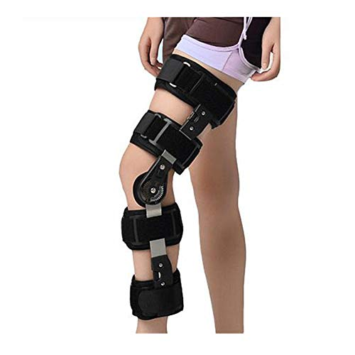HWZ Adjustable Knee Joint Support Brace Meniscus Ligament postoperative Protective Gear Knee Fracture Knee Protector (Black Reinforcement)