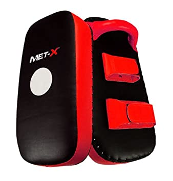 Met-X Curved Focus Pads Mitts,Hook and Jab,Punch Bag Kick Boxing Muay Thai MMA Red//Black Strike Pads