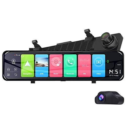 "FunDiscount 12"" 4G Android 8.1 Quad Core Car DVR Camera GPS Navigation Dual Lens Rearview Mirror Dashcam Bluetooth FM Transmitter Digital Video Recorder Rear View Mirror Camera for Cars/Trucks (Black)"