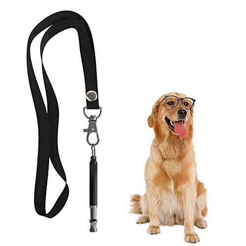 Hivernou Dog Whistle to Stop Barking,Adjustable Pitch Ultrasonic Dog Training Whistle Silent Bark Control for Dogs- 1 Pack Dog Whistle with 1 Free Lanyard Strap
