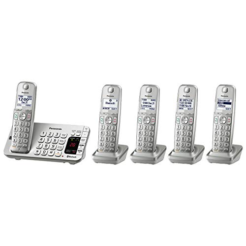 Panasonic Link2Cell Bluetooth Cordless DECT 6.0 Expandable Phone System with Answering Machine and Enhanced Noise Reduction - 5 Handsets - KX-TGE475S (Silver) best to buy