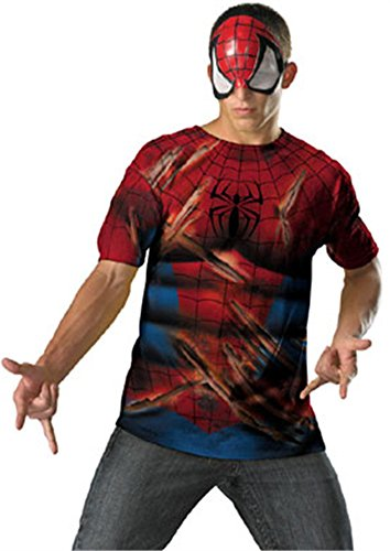 Spider-Man Mask And T-Shirt Costume As Shown Men 42-46 DG11627D