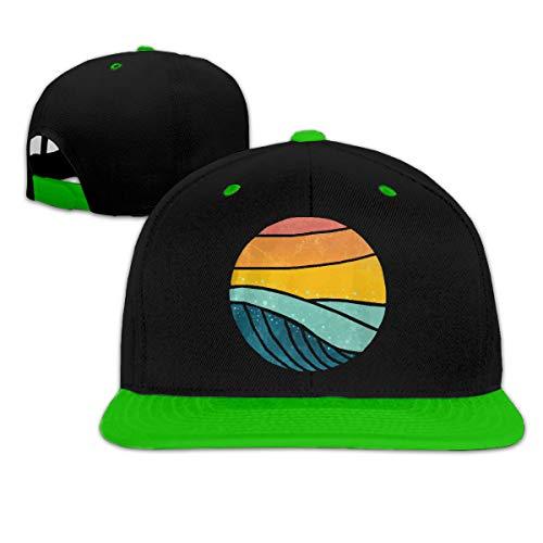 Vintage Sea Wave Sunset Adjustable Hip Pop Flat Bill Cap Green