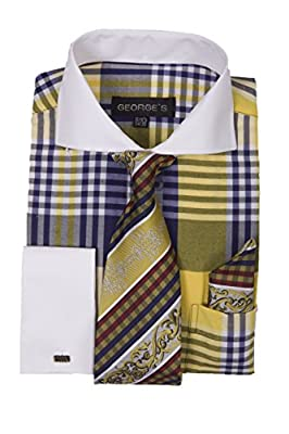 George's Big Plaid Pattern Dress Shirt with Woven Tie & Hankie & Cuffs AH626