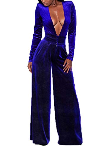 Women's Sexy Deep V Neck High Waist Loose Pants Velvet One Piece Rompers Jumpsuits Long Sleeve Juniors Outfits -