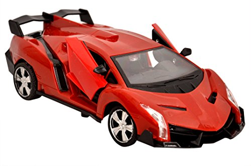 Sunshine Remote Control Lamborghini Car with Opening Doors + Rechargeable, Red/Orange