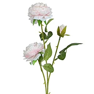 Vlovelife 3 Heads Baby Pink Artificial Peony Flower Silk Rose Flower with Stem 26'' Long Fake Plastic Flowers Home Garden Party Wedding Bouquet Centerpiece Decoration DIY Wreath 9