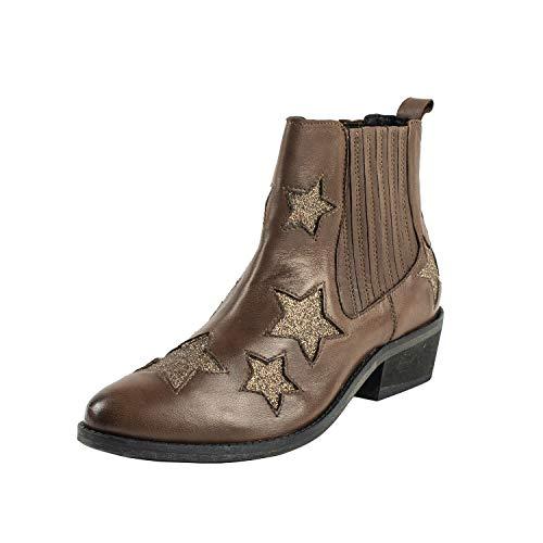 Ricoperti Boot Texano Inserti Tronchetto Elastici Emozioni Scarpa Western Stella Laterali Stivali Con Pelle Donna Cuoio A 4w1PtU
