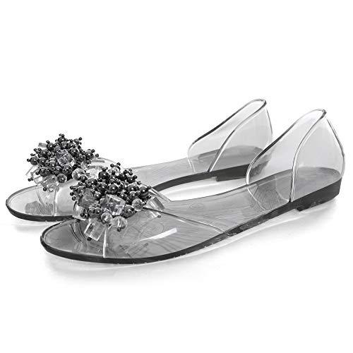 - Dear Time Rhinestones Jelly Flat Sandals Peep Toe Women Summer Slides Transparent Black US 7.5