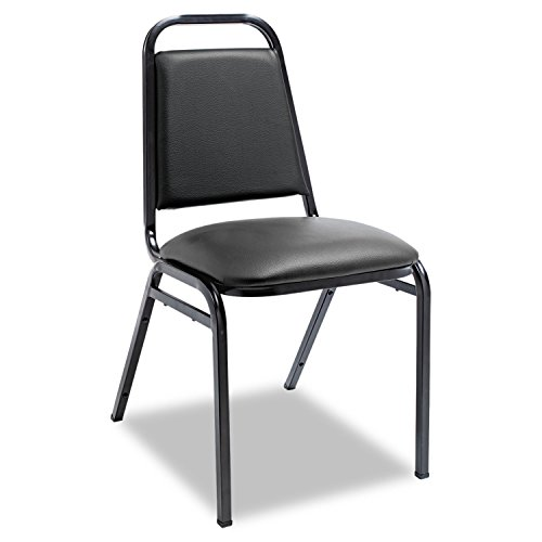 ALESC68VY10B Upholstered Stacking Chairs w/Square Back, Black Vinyl, Black Frame