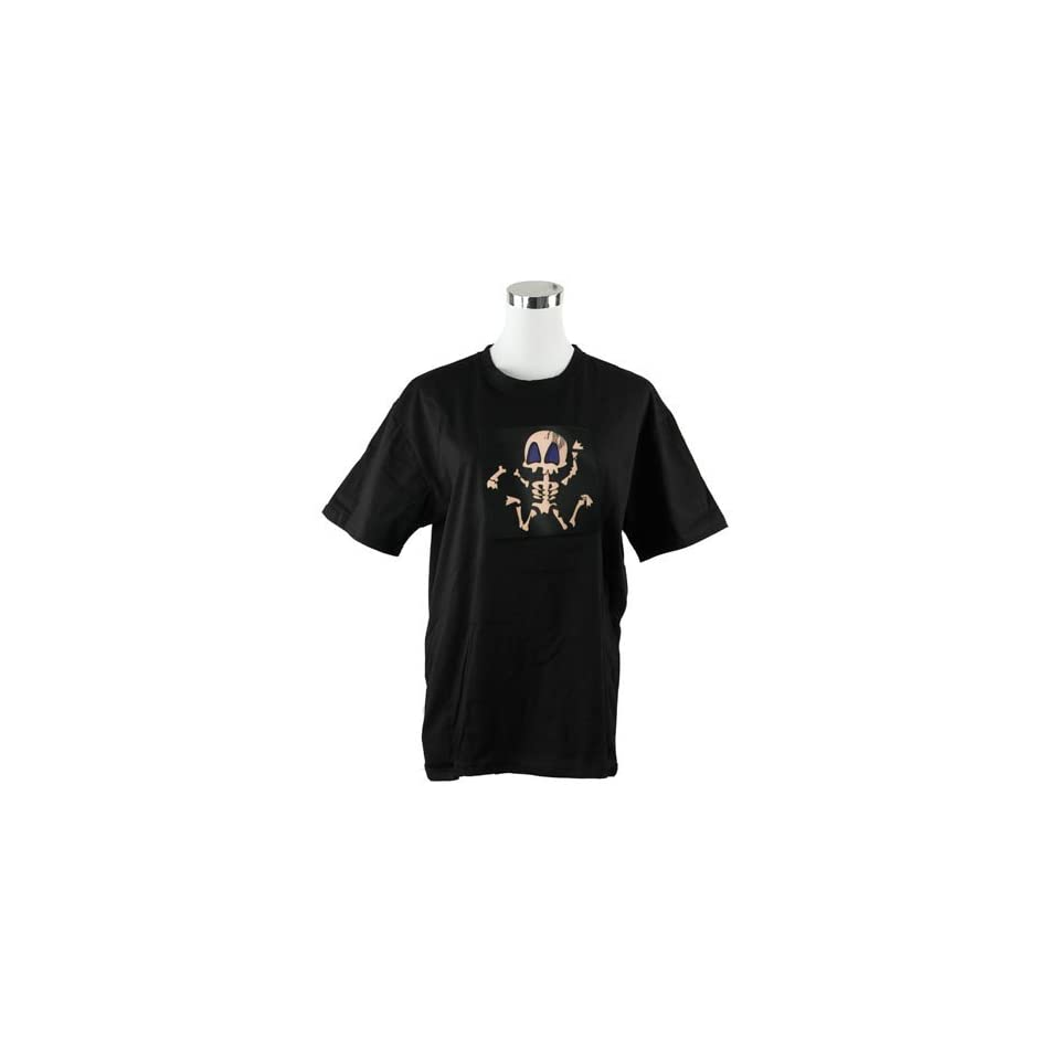 GoodsCity Black Cool Skull Dancer Sound Activated Light Up and Down LED EL T Shirt,Large